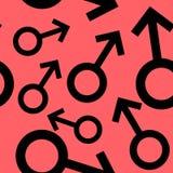 Bezszwowy wzór z czarnymi męskimi symbolami Samiec podpisuje różnych rozmiary wzór na czerwonym tle również zwrócić corel ilustra ilustracja wektor