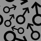Bezszwowy wzór z czarnymi męskimi symbolami Samiec podpisuje różnych rozmiary Wzór na szarym tle również zwrócić corel ilustracji ilustracja wektor