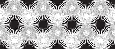 Bezszwowy wzór z Czarnymi Stylizowanymi kwiatami na Białym tle Obrazy Royalty Free
