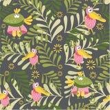 Bezszwowy wzór z czarodziejskimi ptakami Wrona i pelikan w lasowej haliźnie Botaniczny tło dla dziecko pokoju, książki, tkaniny,  ilustracji