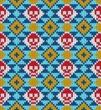 Bezszwowy wzór z czaszką i etnicznymi meksykańskimi elementami Dzień nieboszczyk, tradycyjny wakacje w Meksyk dla pocztówki Zdjęcie Stock