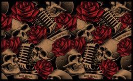 Bezszwowy wzór z czaszkami, mikrofonami i różami, ilustracja wektor