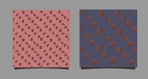 Bezszwowy wzór z czekoladowymi barami Plasterki słodki deser Druk na tkaninie, odziewa, tła miejsce wektor ilustracji