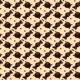 Bezszwowy wzór z czekoladowymi cukierkami na beżu royalty ilustracja