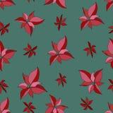 Bezszwowy wzór z czerwoną poinsecją na zielonym backgroundÑŽ Wesoło ilustracji