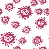 Bezszwowy wzór z czerwona ręka malującymi kwiatami deseniowa bezszwowa tekstura również zwrócić corel ilustracji wektora ilustracja wektor