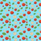 bezszwowy wzór z czerwonym jabłkiem i jabłkiem w cięciu Turkusowy tło Zdjęcia Royalty Free