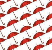 Bezszwowy wzór z czerwonymi parasolami ilustracja wektor