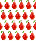 Bezszwowy wzór z czerwonymi poligonalnymi bonkretami na białym tle 8bit mieszkania styl obraz stock