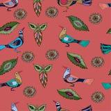 Bezszwowy wzór z czerwonymi ptakami Zdjęcia Stock