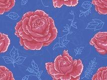 Bezszwowy wzór z czerwonymi różami na jaskrawym błękitnym tle fotografia royalty free