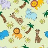 Bezszwowy wzór z dżungli zwierzętami Zdjęcia Stock