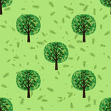 Bezszwowy wzór z dębowymi lasowymi drzewami ilustracja wektor