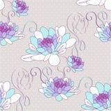 Bezszwowy wzór z dalia kwiatami. royalty ilustracja