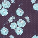 Bezszwowy wzór z dekoracyjnymi dalia kwiatami. royalty ilustracja