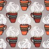 Bezszwowy wzór z Dekoracyjnymi filiżankami herbata Obraz Royalty Free