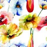 Bezszwowy wzór z dekoracyjnymi kwiatami ilustracja wektor