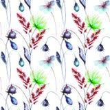 Bezszwowy wzór z Dekoracyjnymi lato kwiatami ilustracji