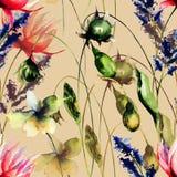 Bezszwowy wzór z Dekoracyjnymi lato kwiatami royalty ilustracja