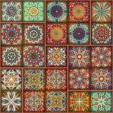 Bezszwowy wzór z dekoracyjnymi mandalas Rocznika mandala elementy kolorowy patchwork Fotografia Royalty Free
