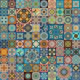 Bezszwowy wzór z dekoracyjnymi mandalas Rocznika mandala elementy kolorowy patchwork Obraz Stock