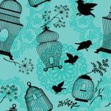 Bezszwowy wzór z dekoracyjnymi ptasiej klatki czerni sylwetkami ilustracji