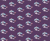 Bezszwowy wzór z delfinami i fala zdjęcia royalty free