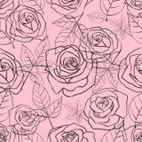 Bezszwowy wzór z delikatnymi liniowymi różami i liśćmi na różowym tle royalty ilustracja