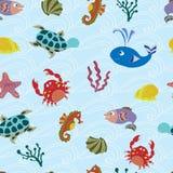 Bezszwowy wzór z dennymi zwierzętami ilustracji