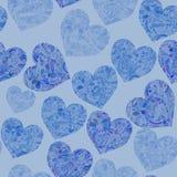 Bezszwowy wzór z doddle sercami w błękitnych kolorach Zdjęcie Royalty Free