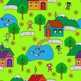 Bezszwowy wzór z domami, drzewami i ludźmi, royalty ilustracja