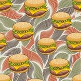 Bezszwowy wzór z doodle hamburgerem na artystycznym tle Zdjęcia Royalty Free