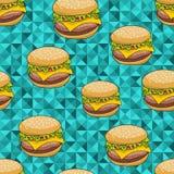 Bezszwowy wzór z doodle hamburgerem na artystycznym tle Obrazy Royalty Free