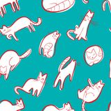 Bezszwowy wzór z doodle kotami Tło z bawić się kitt ilustracji