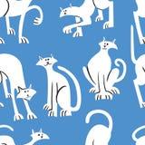 Bezszwowy wzór z doodle kotami Tło z bawić się kitt ilustracja wektor