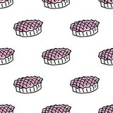 Bezszwowy wzór z doodle kulebiakami Fotografia Royalty Free