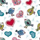 Bezszwowy wzór z doodle ślicznymi ptakami Obraz Stock