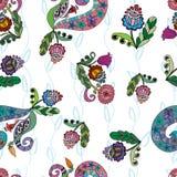 Bezszwowy wzór z doodle ornamentami ilustracja wektor