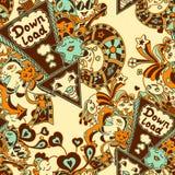 Bezszwowy wzór z doodle potworów błękitnym żółtym brązem Obrazy Stock