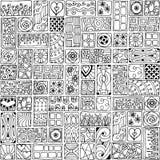 Bezszwowy wzór z doodle sercami i kwiatami. Fotografia Stock