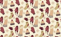 Bezszwowy wzór z doodle zimy odzieżą royalty ilustracja