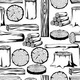 Bezszwowy wzór z drewnem notuje, bagażniki i deski Tło dla leśnictwa i tarcica przemysłu Fotografia Royalty Free