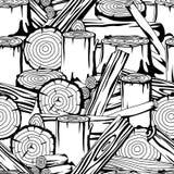 Bezszwowy wzór z drewnem notuje, bagażniki i deski Tło dla leśnictwa i tarcica przemysłu Obrazy Royalty Free