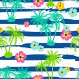 Bezszwowy wzór z drzewkami palmowymi i poślubnikiem Zdjęcie Royalty Free