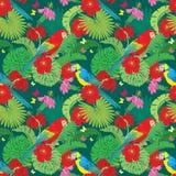 Bezszwowy wzór z drzewkami palmowymi opuszcza, Frangipani kwiaty, i Zdjęcie Stock