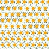Bezszwowy wzór z dużymi pomarańcze plasterkami i małymi liśćmi Fotografia Stock