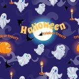 Bezszwowy wzór z duchami, nietoperzami, księżyc i baniami dla Halloween, Obrazy Stock