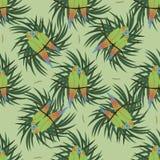 Bezszwowy wzór z dwa colourful papugą ilustracja wektor