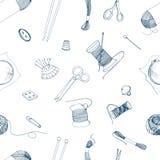 Bezszwowy wzór z dzianiem i szwalnymi akcesoriami Ręka rysująca konturowa ilustracja ilustracji