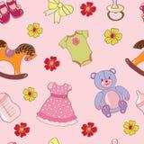 Bezszwowy wzór z dziewczyn zabawkami royalty ilustracja